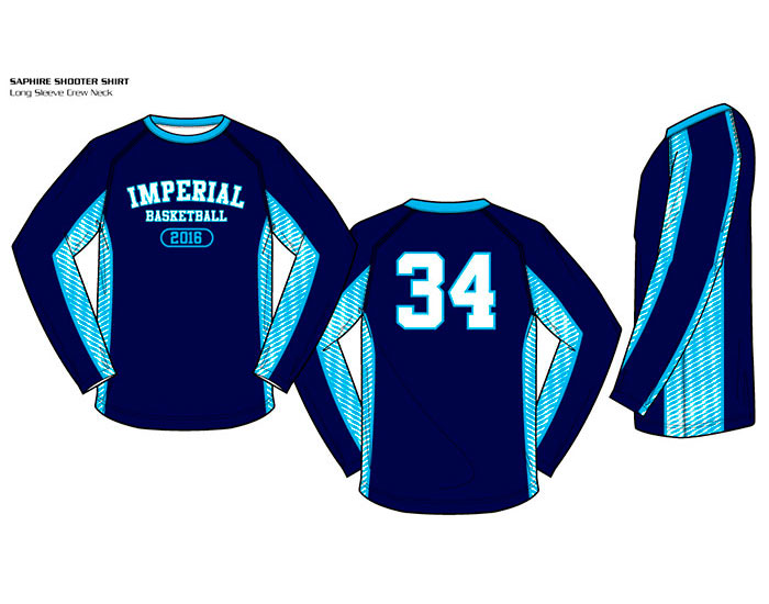 Sublimated Basketball Uniform Sapphire Crew Neck