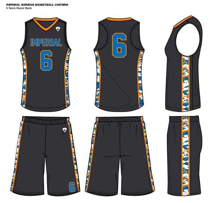 Sublimated Basketball Uniform Women's Camo Racerback