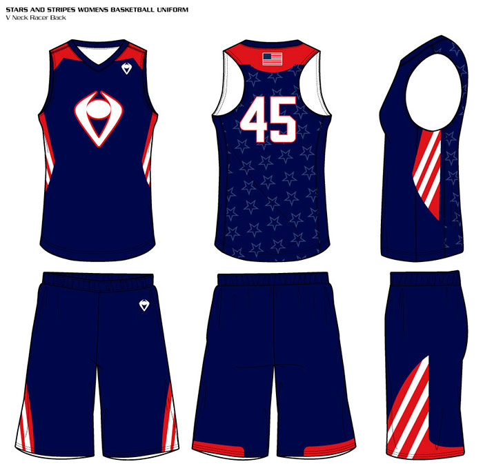 Sublimated Basketball Uniform Stars and Stripes Women's